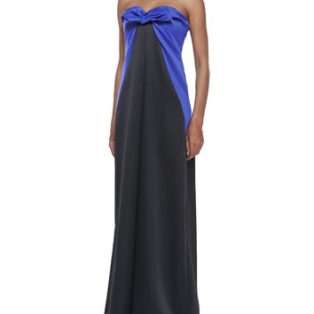 Women's Strapless Knot-Tie Gown - Halston Heritage - Royal blue black