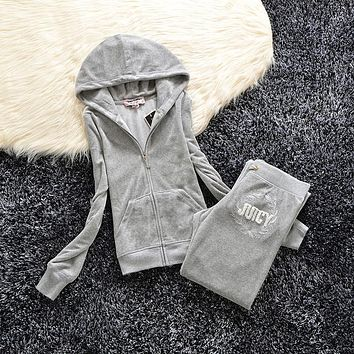 Juicy Couture Studded Logo Velour Tracksuit 6021 2pcs Women Suits Grey