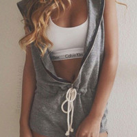 Gray Sleeveless Hooded Knitted Romper