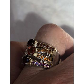 Vintage Handmade Pink tourmaline and citrine and garnet  setting Sterling Silver gothic Ring