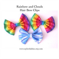 Fun themed Hair Bow Clips. Great for kids, teens, tweens. Style with half up, buns, braids. Cute gift. Rainbow or Clouds.