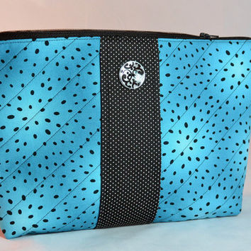 Handmade Large Quilted Cosmetic Bag Teal and Black Zipper Close