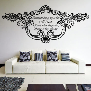 Vinyl Wall Decal Quote Everyone Brings Joy To This House / Inspirational Text Art Decor Home Sticker / Door Decals + Free Random Decal Gift!