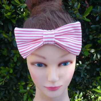 Buy 3 Get 1 Free  Mom Baby Set Women Children Preemie Infant Newborn Toddler Pink Stripes  Headband Bow  Goodtreasures123