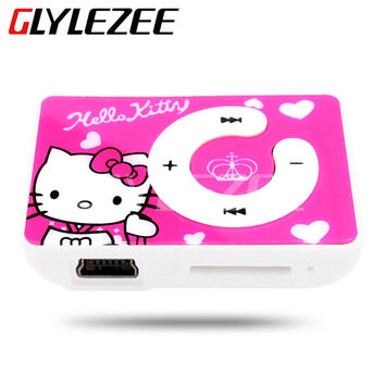 Glylezee MP3 Music Player with 5 Colors The Plastic Clip Cartoon Portable MP3 Player