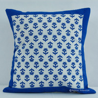 "16"" Inch Blue Hand Block Feature Leafs Toss Pillow"
