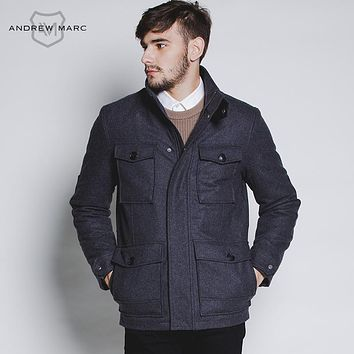 Men's Winter Fashion Wool Blends Coat Mandarin Collar Warm Jacket Overcoat Black Gray Male Coats