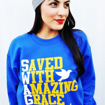 JCLU Forever Christian t-shirts — 040-SWAG ROYAL BLUE SWEATER/UNISEX