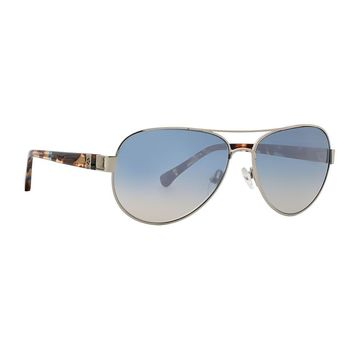 Trina Turk - Lazio 57mm Silver Sunglasses / Blue Brown Lenses