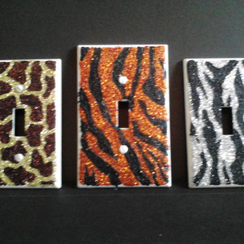 Glittery light switch covers - animal prints - hand decorated