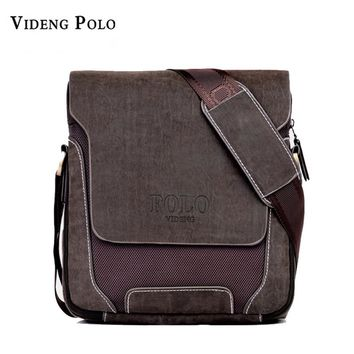 POLO brand Man Fashion Canvas Bag Men's Shoulder Laptop Bag Leather Messenger bag High Quality