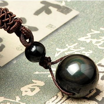 Fashion Black Obsidian Rainbow Eye Beads Ball Pendant Necklace Natural Stone Transfer Lucky Love Necklace For Women Jewelry Gift