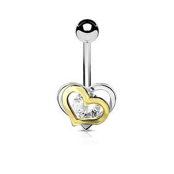 Gold and Steel Two-Tone Double Heart WildKlass Belly Button Navel Rings