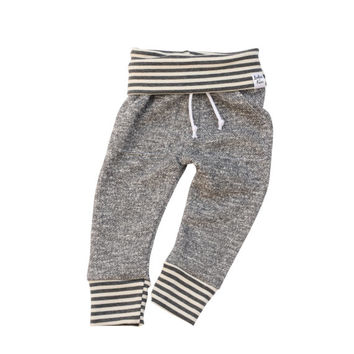 grey stripe sweatpants, baby heather sweats, organic kid pants, take home outfit, heather grey sweatpants, baby jogging outfit, newborn