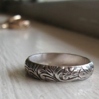 Rustic sterling renaissance wedding band by tinahdee on Etsy