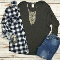 Long Sleeve Dolman: Charcoal