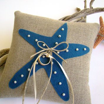 Ring Bearer Pillow, Beach Wedding, Navy Blue Starfish, Ring Pillow, Starfish Wedding, Cobalt Blue, Destination Wedding, Ring Bearer