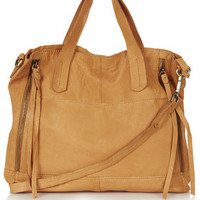 Slouchy Leather Shoulder Bag - Tan
