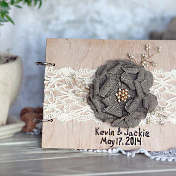 Wood rustic wedding guest book  with  lace and  handmade  flower /Wedding Guest Book / Personalized