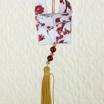 Christmas Ornament - Origami Dove With Gold Tassel