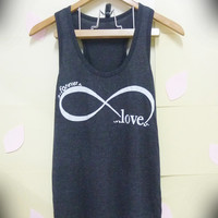 Infinity tank top, love shirt, forever, cute tank top Light Black Women t shirt, teen girls Tank top size S/M/L/XL singlet, crop top