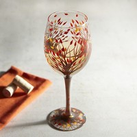 Fall Leaves Painted Wine Glass