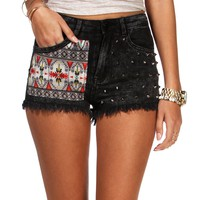 Pre-Order: Dark Gray Tribal Studded Shorts