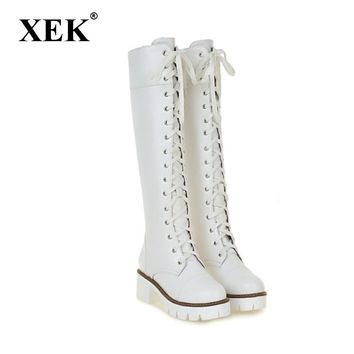 XEK New Womens Square Low Heel Riding Motorcycle Heel Knee High Boots Punk Gothic Platform Shoes Size34-39 GSS116