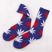 Field For You One Pair New Marijuana Weed Leaf Cotton High Socks Men/women