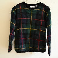 Plaid Fuzzy Sweater Vintage Oversized 90s L
