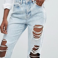 ASOS ORIGINAL MOM Jeans in Pretty Mid Wash with Pearl Detail Rips at asos.com