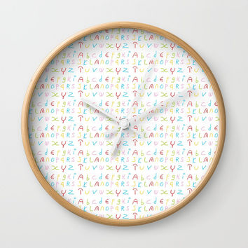 Alphabet -letter,child,language,Abecedarium,abc,abcdefg, symbols,,script,write,writing Wall Clock by oldking