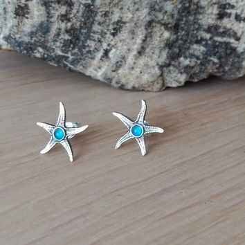 Silver stafish studs, small starfish earrings with aqua marine stone, boho starfish earrings, teens and girls earrings