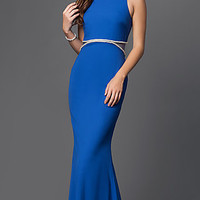 Floor Length Mock Two Piece Dress with Sheer Back Panel by Mignon
