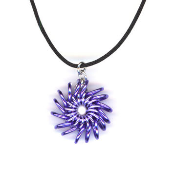 Pendant Purple Lavender Lilac with Long Cord Necklace, Whirlybird Style Chainmaille
