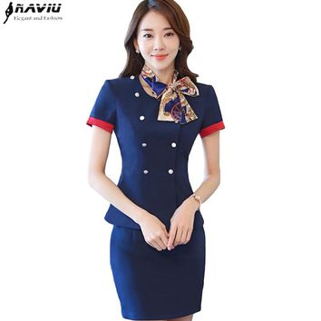 Professional set stewardess uniforms new fashion formal women short sleeve blazer with skirt office ladies plus size work wear