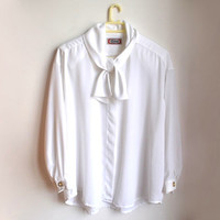 Plus Size White Bow Shirt PussyBow Blouse Vintage Button Up Tie Neck Kitten Bow Top XXL XXXL 3X 60s 1960s 70s 1970s