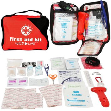 5-in-1 Vehicle First Aid Kit - with Emergency Vehicle Escape Tool and Survival Items: Fire Starter Bracelet, Multi Tool, and Rain Poncho, Ideal Car or Boat First Aid Kit