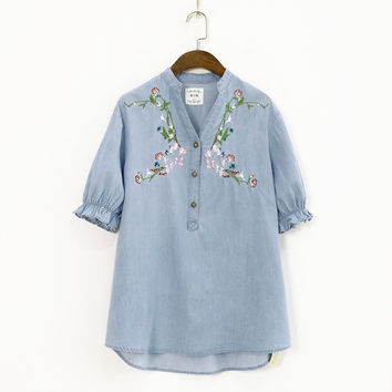 Small Fresh Summer New V-neck Pullover Loose Buckle Chest Embroidered Denim Shirt Female
