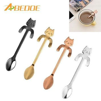 MDIGYN5 ABEDOE 1 pcs Stainless Steel Cat Coffee Spoon Dessertspoon Food Grade ice cream candy teaspoon Kitchen Supplies tableware