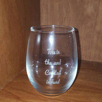 "Laser Engraved ""Toes in the Sand Cocktail in Hand"" Wine or Stemless Wine Glass ~ Gifts for Him ~ Gifts for Her ~ Beach"