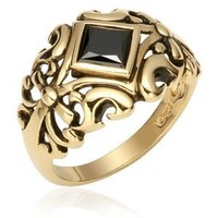 Prestigious and Classic: Vermeil Vintage Style Filigree Ring with Black Cubic Zirconia for Men