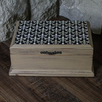 Jewelry Box, Cappuccino Brown with Fleur De Lis on top