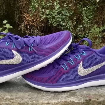 custom nike free 5.0+2 run sneakers athletic sport shoes womens purple color blinged