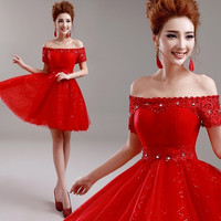Fashion Red Party Dresses Bride Off-Shoulder Short-Sleeve Chiffon Lace Evening Dress Prom Dresses 2015 Vestido De Festa H864 = 1929383044