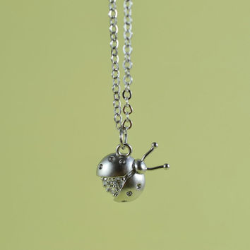 CZ Ladybug Necklace, Rhodium Plated Brass, Cubic Zirconia, Delicate Chain, Everyday Wear, Perfect Gift
