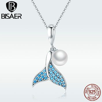 BISAER Pendant Charms 925 Sterling Silver Blue Fish Tail Mermaid with Pearl Beads for Women Charm Bracelet or Necklace GXC877