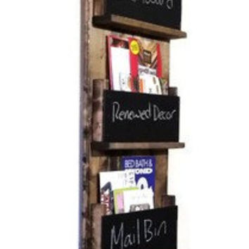 Sydney Wall Mounted 3 Tier Magazine / Book Rack with chalkboards - Stained