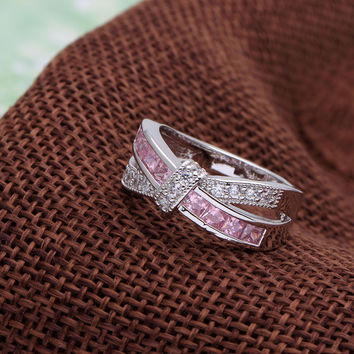 Amethyst cross finger ring for lady  purple pink color jewelry -03324