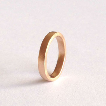 Rose Gold Plain Wedding Ring -18 Carat - Matte Brushed Finish - Simple Solid Wedding Band - Red Blush Pink Gold - Unisex - Men's Women's